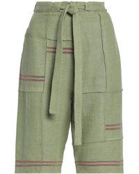JW Anderson Tie-front patchwork linen shorts - Grün