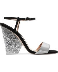 Paul Andrew - + Edie Parker Metallic Leather And Suede Sandals - Lyst