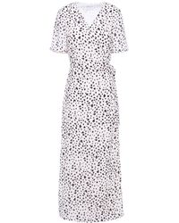 Iris & Ink Adeline Printed Crepe Maxi Wrap Dress - White