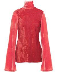 Ellery Panelled Velvet Turtleneck Top Crimson - Red
