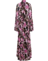 Giambattista Valli Pussy-bow Gathered Floral-print Silk-chiffon Gown Black