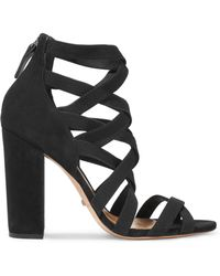 Schutz - Lace-up Nubuck And Twill Sandals - Lyst