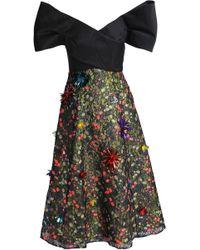 Delpozo Strapless Embellished Lace Midi Dress Black