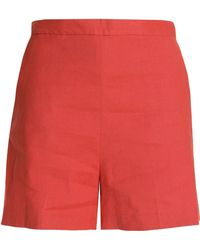 Theory - Linen-blend Shorts Tomato Red - Lyst