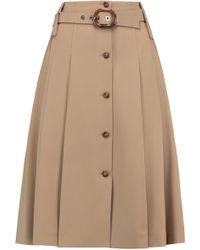 Michael Kors - Belted Pleated Wool-blend Twill Skirt - Lyst
