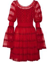 Alexander McQueen - Stretch Knit-paneled Silk-blend Point D'esprit Mini Dress - Lyst