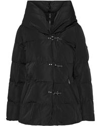 DKNY Quilted Shell Hooded Coat Black