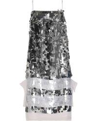 Christopher Kane - Organza-trimmed Sequined Silk Dress - Lyst