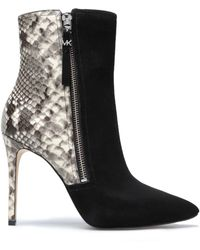 MICHAEL Michael Kors - Panelled Suede And Snake-effect Leather Ankle Boots - Lyst