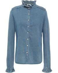Claudie Pierlot Ruffle-trimmed Chambray Shirt Light Denim - Blue