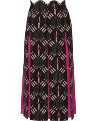 Valentino Crepe-paneled Printed Wool And Silk-blend Midi Skirt Black