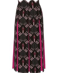 Valentino Love Blades Silk-paneled Printed Wool-blend Midi Skirt Fuchsia - Multicolour
