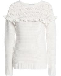 Autumn Cashmere - Ruffle-trimmed Paneled Pointelle-knit Sweater - Lyst