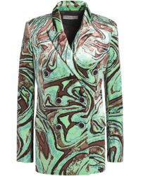 Emilio Pucci - Double-breasted Printed Velvet Blazer - Lyst