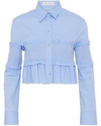 Cedric Charlier - Ruffle-trimmed Shirred Cotton-poplin Top - Lyst
