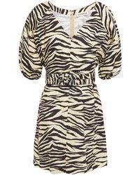 Nicholas Belted Zebra-print Linen Mini Dress Animal Print - Multicolour