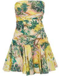 Zimmermann - Juliette Strapless Cutout Printed Linen Mini Dress - Lyst