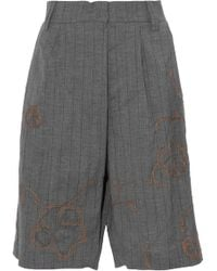 Brunello Cucinelli - Embellished Striped Wool And Linen-blend Shorts - Lyst