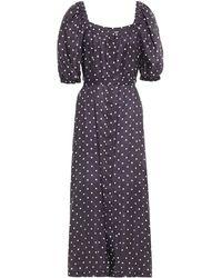 Zimmermann Belted Polka-dot Linen-gauze Midi Dress - Blue