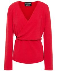 Boutique Moschino Wrap-effect Stretch-knit Top - Red
