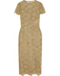 Valentino Metallic Guipure Lace Midi Dress
