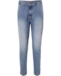 Bassike Faded High-rise Tapered Jeans Mid Denim - Blue