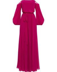 Badgley Mischka Off-the-shoulder Belted Chiffon Gown - Pink