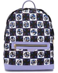 Emilio Pucci Leather-trimmed Checked Twill Backpack Lavender - Multicolor