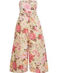 Zimmermann Honor Cropped Strapless Floral-print Linen Wide-leg Jumpsuit Beige - Natural