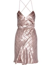 Michelle Mason Open-back Devoré-velvet Mini Wrap Dress Rose Gold - Pink