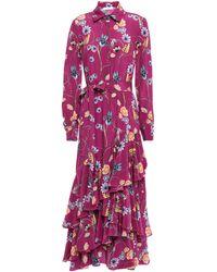 Borgo De Nor Floral Print Shirt Dress - Purple