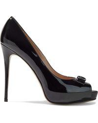 Valentino Bow-embellished Patent-leather Platform Court Shoes Black