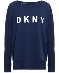 DKNY Printed Cotton-blend Jersey Top - Blue