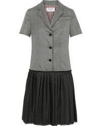 Thom Browne Paneled Pleated Wool-twill Shirt Dress Gray