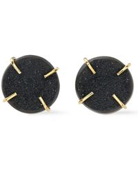 Melissa Joy Manning Melissa Joy Ning 14-karat Gold Agate Druzy Earrings Black