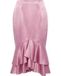 Cinq À Sept - Anissa Ruffled Silk-satin Skirt - Lyst