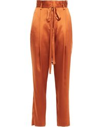 Michelle Mason Belted Pleated Silk-charmeuse Tapered Trousers - Multicolour