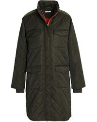 Ganni - Vandalia Quilted Printed Shell Coat Forest Green - Lyst