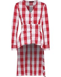 W118 by Walter Baker - Asymmetric Tie-front Checked Cotton Top - Lyst