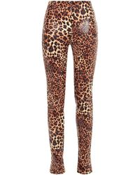 Stand Studio Leopard-print Faux Snake-effect Leather Skinny Trousers Animal Print - Brown