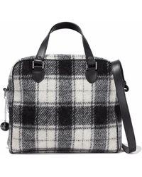 M Missoni | Leather-trimmed Brushed-flannel Shoulder Bag | Lyst