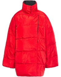House of Dagmar Oversized Quilted Shell Coat - Red