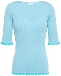 See By Chloé See By Chloé Ribbed Cotton-blend Top Turquoise - Blue