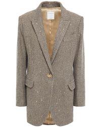 Sandro Paule blazer aus tweed mit fischgratmuster - Natur