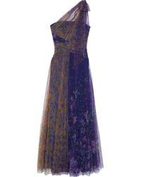Marchesa notte One-shoulder Cutout Two-tone Floral-print Plissé-tulle Gown Purple