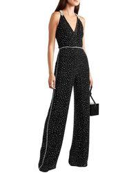 Jenny Packham Cutout Wrap-effect Crystal-embellished Silk-chiffon Jumpsuit - Black