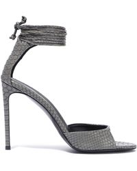 7bcc1aba4cd Stella McCartney - Woman Snake-effect Faux Leather Sandals Gray - Lyst