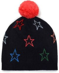 Chinti & Parker - Woman Pompom-embellished Intarsia Wool And Cashmere-blend Beanie Midnight Blue - Lyst