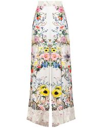 Camilla Crystal-embellished Floral-print Silk-twill Wide-leg Pants - White