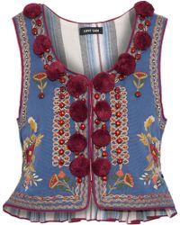Love Sam - Embellished Cotton-faille Vest - Lyst